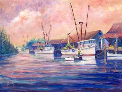 Hyde County Shrimpers Painting by Bob Pittman