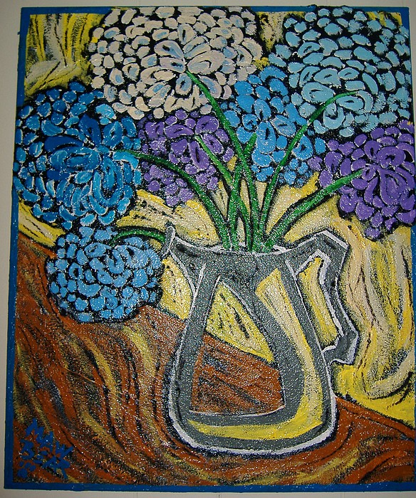 Hydrangeas N Sharp Teapot Painting by Maw Bear -Kimberly Webber Young