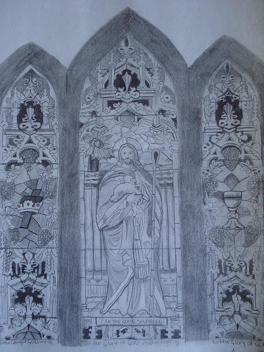 Jesus Drawing - I Am The Good Shepherd by Tonya Hoffe
