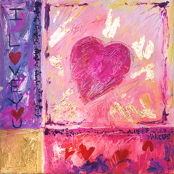 I Love You Blush Painting by Leslie Marcus