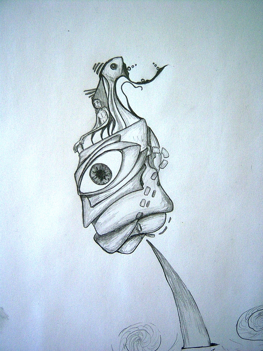 Surrealism Drawing - I Sit On The Throne by Harminder Paul