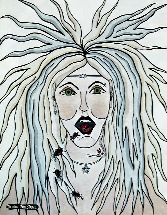 Witch Woman Painting - I Speak Of Pestilence by Deidre Firestone