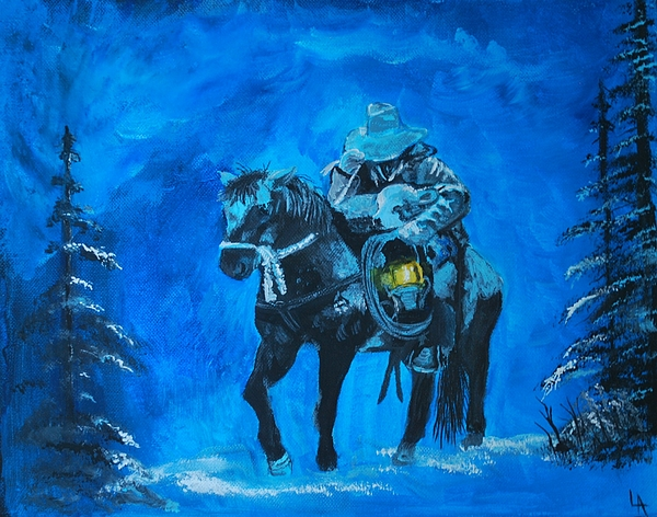 Horse And Cowboy Painting - I Will Carry You by Leslie Allen