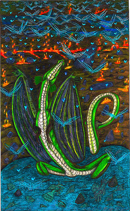 Dragon Drawing - Iammyaza In His Lair by Al Goldfarb
