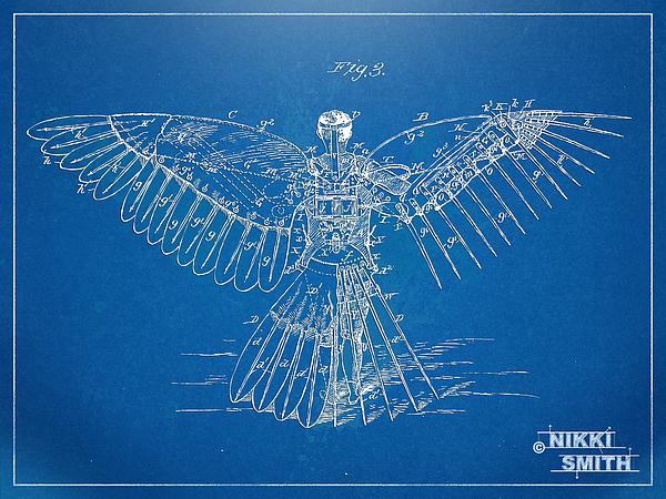 Patent Digital Art - Icarus Human Flight Patent Artwork by Nikki Marie Smith