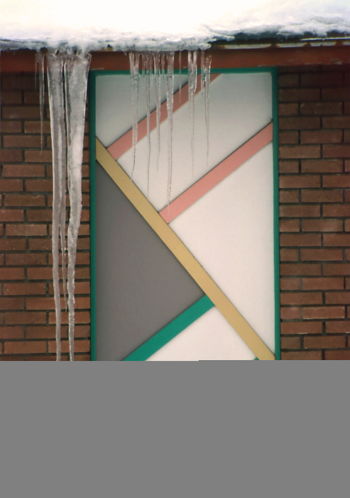 Architecture Photograph - Icicles 3 - In Front Of Architectural Design Off Red Brick Bldg. by Steve Ohlsen