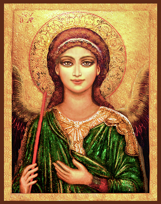 Christ Mixed Media - Icon Archangel Gabriel by Ananda Vdovic