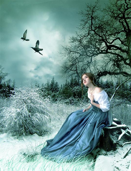 Fantasy Digital Art - If Only I Had Wings by Julie L Hoddinott