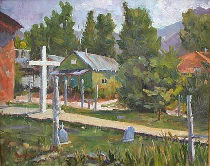 Landscape Painting - Iglesia De San Antonio by Nancy Delpero