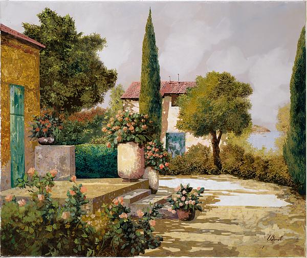 Landscape Painting - Il Cipresso by Guido Borelli