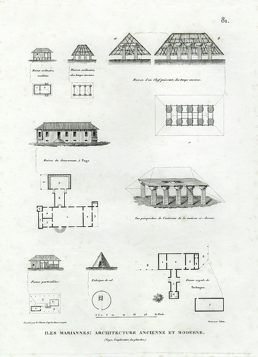 Iles mariannes architecture ancienne et moderne drawing by for Architecture ancienne