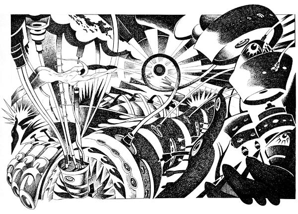Arte Drawing - Im Tired Shootin The Sun by Ciro Pignalosa