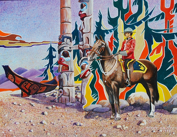 Rcmp Painting - Images Of The West by Santo De Vita