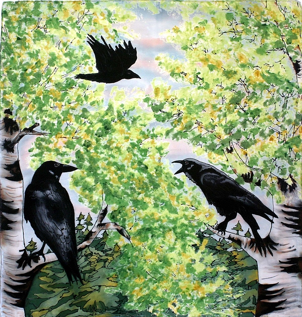 Ravens Painting - Imparting Wisdom by Linda Marcille