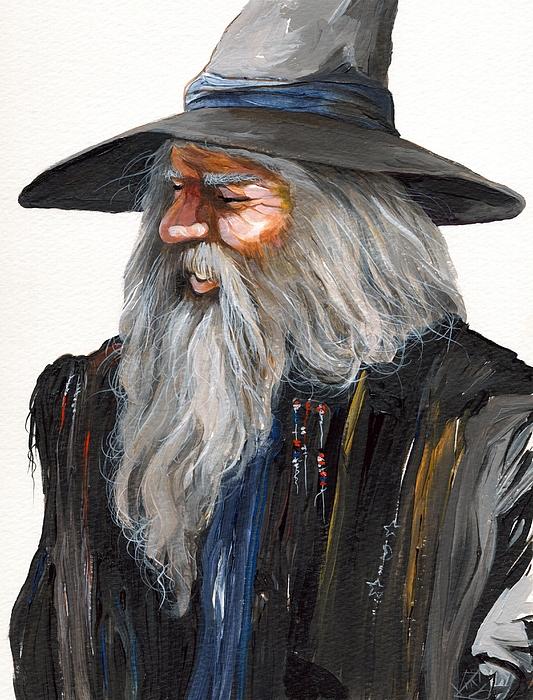 Wizard Painting - Impressionist Wizard by J W Baker