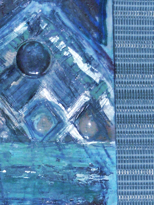 Blue Mixed Media - Impressionistic Blues With Buttons by Anne-Elizabeth Whiteway