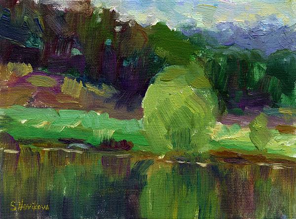Oil Painting - Impressionistic Oil Landscape Lake Painting by Svetlana Novikova