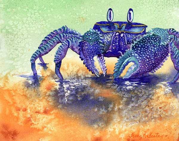 Crab Painting - In A Blue Mood by Tracy L Teeter