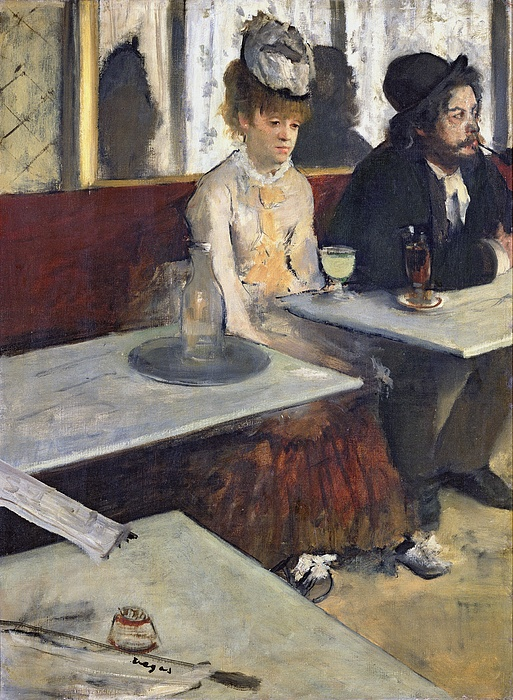 Degas Painting - In A Cafe by Edgar Degas