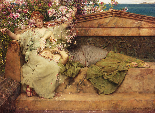 Rose Painting - In A Rose Garden by Sir Lawrence Alma-Tadema
