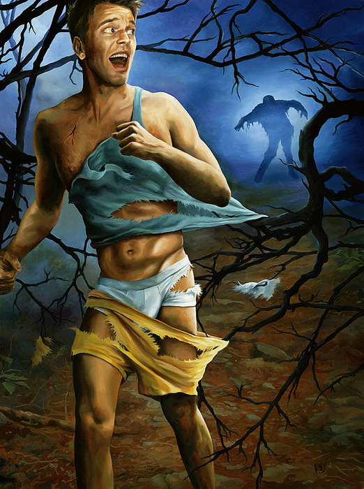 Pin-up Painting - In Hot Pursuit Starring Jesse Archer by Paul Richmond