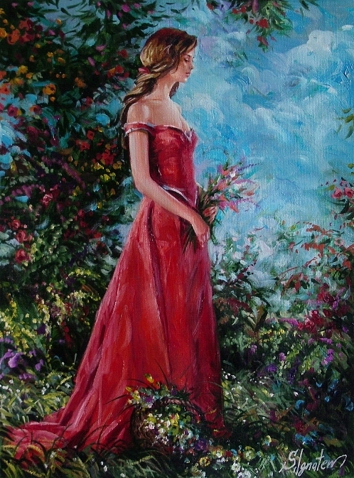 Figurative Painting - In Summer Garden by Sergey Ignatenko