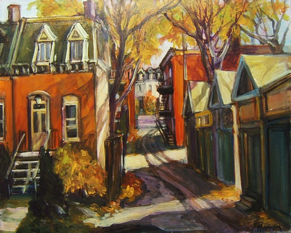 Montreal Streetscape Painting - In The Alley by Ingrid Harrison