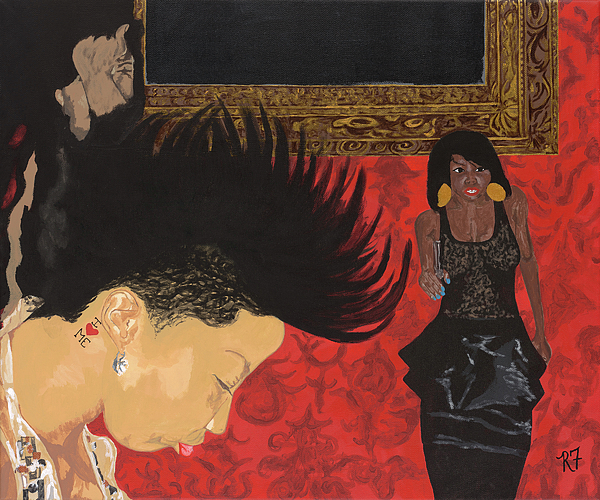 Woman Painting - In The Club by Rishanna Finney