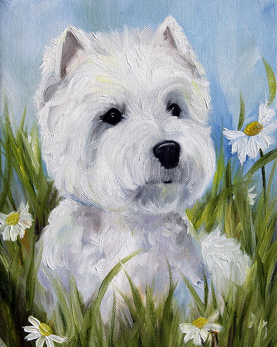 Westie Painting - In The Daisies by Mary Sparrow