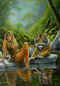 Tiger Painting - In The Garden by Syndi Michael