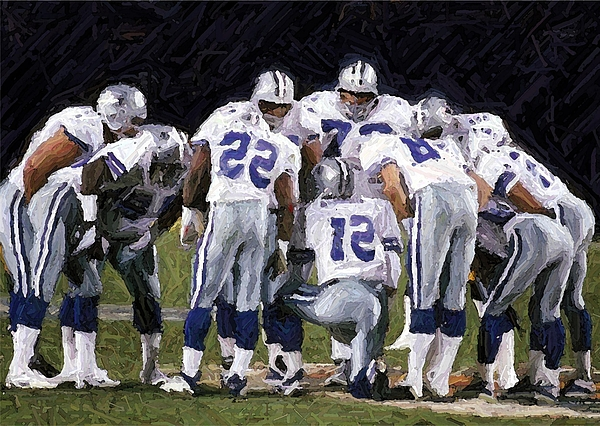 Dallas Cowboys Digital Art - In The Huddle by Carrie OBrien Sibley