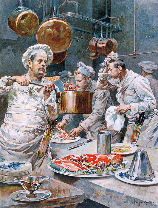 A La Cuisine; Cooking; Tasting; Preparation; Chef; Cook; Chefs; Lobster; Copper; Pots; Pot; Pans; Pan; Sheath; Knives; Large; Fat; Parisian; Work; Working; Cook; Heat; Gourmet; Gourmand; Cook Painting - In The Kitchen by G Marchetti