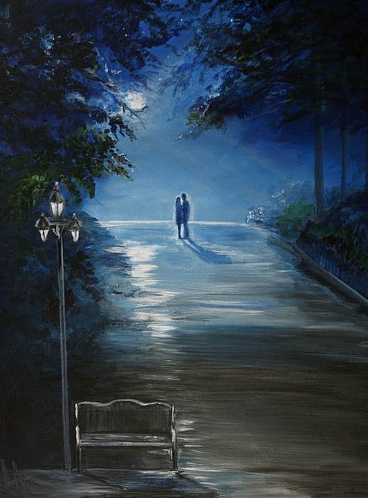 Couple Painting - In The Loving Moonlight by Leslie Allen