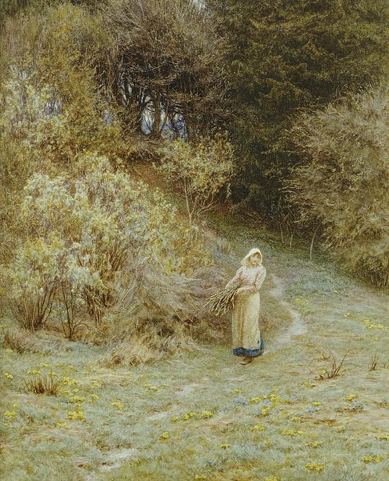 In The Primrose Wood Painting - In The Primrose Wood by Helen Allingham