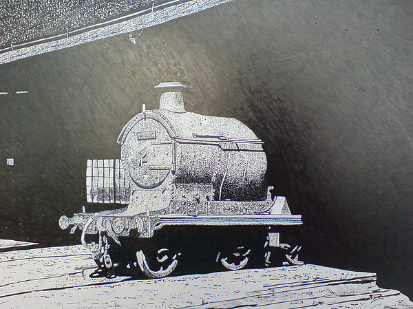 Steam Train Drawing - In The Shadows by Andy Davis