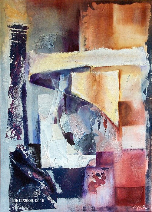 Abstract Painting - In Their Seventies by Jozsef Sinka