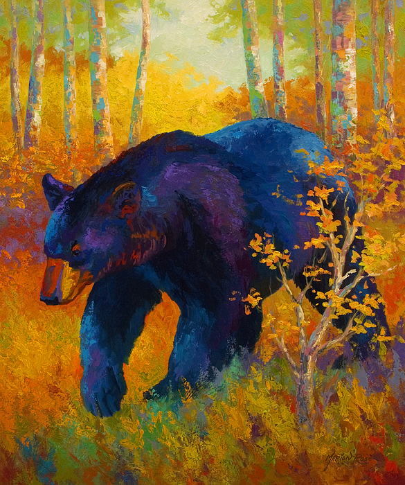 Bear Painting - In To Spring - Black Bear by Marion Rose
