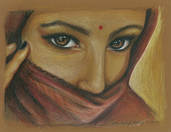 India Woman Drawing - India Woman by Linda Nielsen
