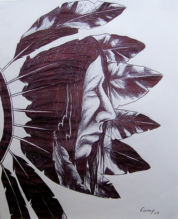 Indian Feathers Drawing - Indian Feathers by Michael  TMAD Finney