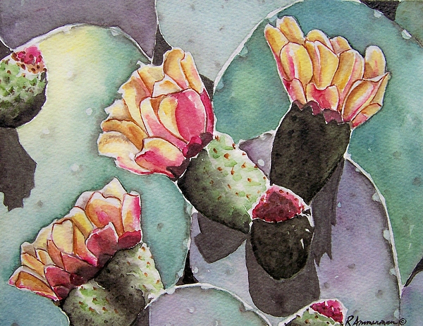 Cactus Painting - Indian Fig Cactus by Regina Ammerman