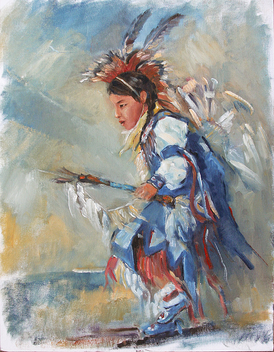 Indian Culture Painting - Indian Little Dancer by Bin Feng