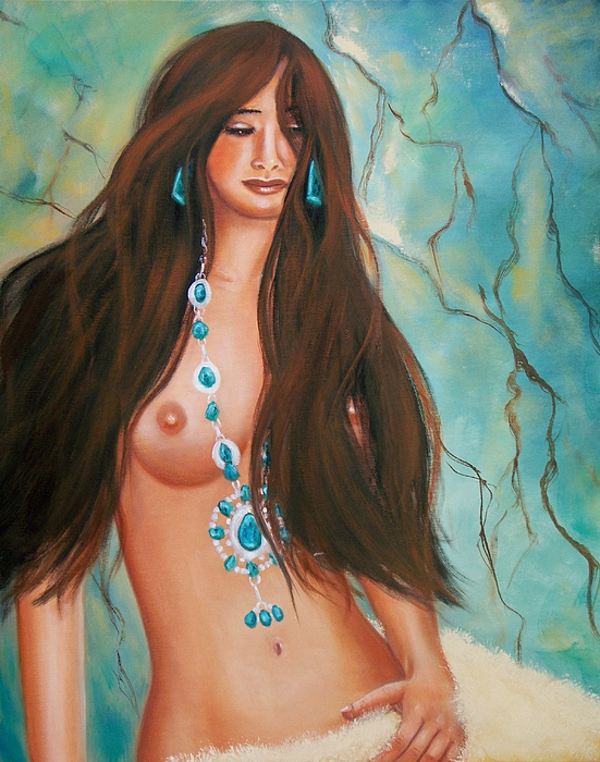 Portrait Painting - Indian Maiden In Turquoise by Joni McPherson