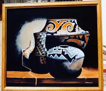 Indian Pots      Acoma Painting by Nancy Waller