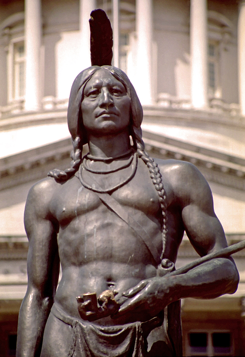 Indian Photograph - Indian Statue At Utah State Capitol by Steve Ohlsen