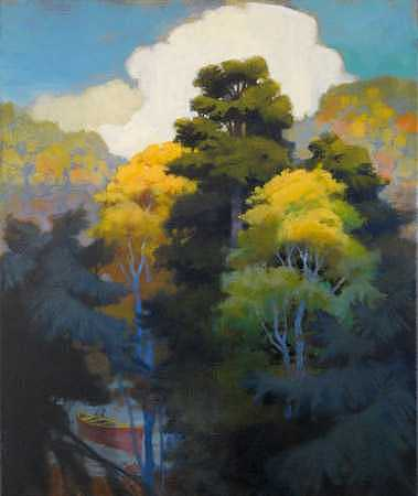 Red Canoe Painting - Indian Summer Hidden River - II by Ken Campbell