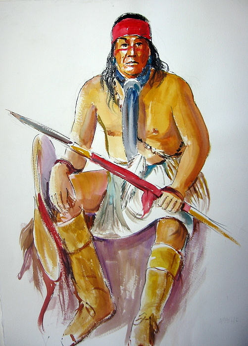 Indians Painting - Indian With Spear by Murray Keshner