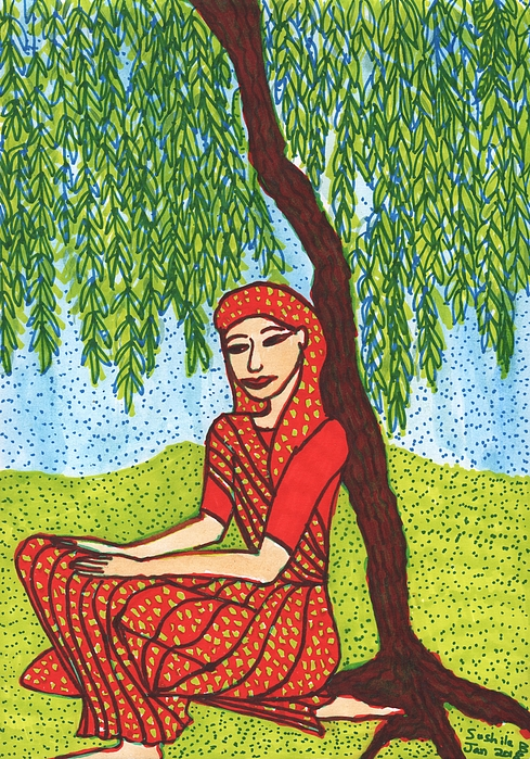 Indian Woman Mixed Media - Indian Woman With Weeping Willow by Sushila Burgess