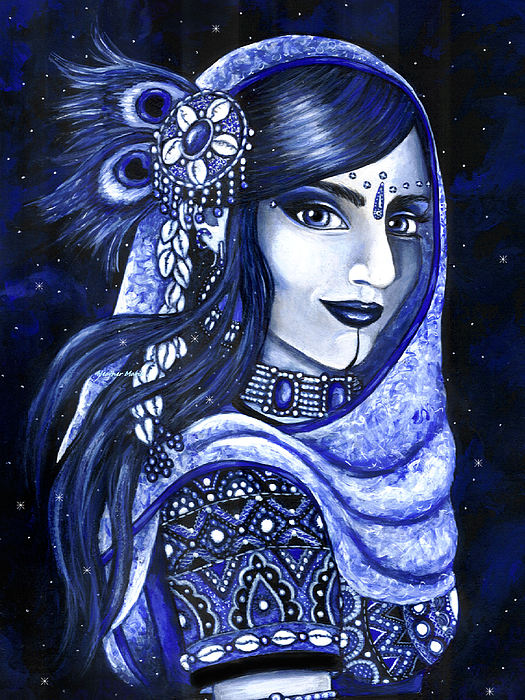 Belly Dance Painting - Indigo by Heather  Marie