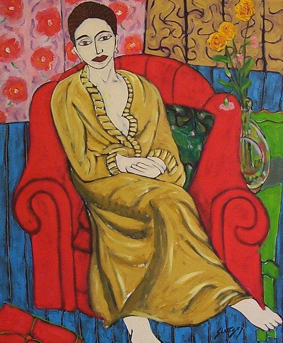 Woman Painting - Indira In Red Armchair by Erik Slutsky