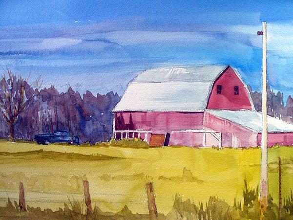 Landscape Painting - Indy Barn by Joe Lanni